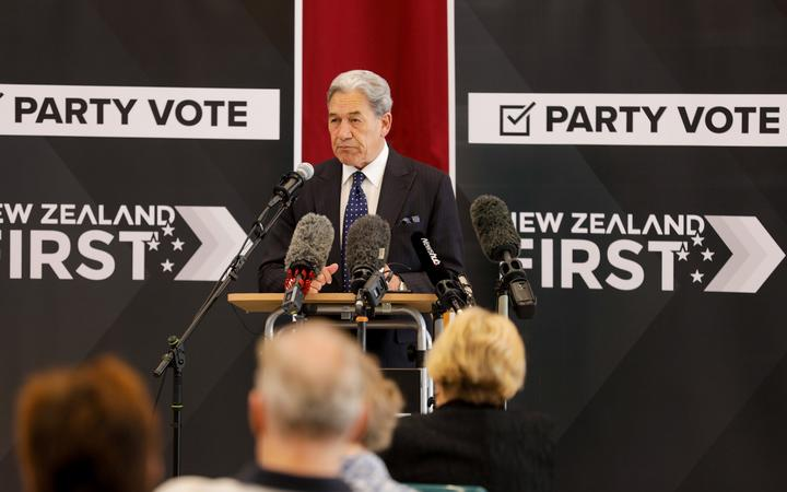 New Zealand First leader Winston Peters campaigning at Ōrewa Community Centre in Auckland on 25 September.