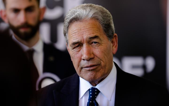 New Zealand First leader Winston Peters campaigning at Orewa Community Centre in Auckland on 25 September.