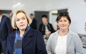 National Party leader Judith Collins and regional development and West Coast issues spokesperson Maureen Pugh campaigning in the West Coast on 25 September, 2020.