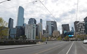 MELBOURNE, AUSTRALIA - SEPTEMBER 18: A deserted view from Melbourne city on September 18, 2020 in Melbourne, Australia. Streets, shopping malls, squares, parks and train stations in the city remain empty due to the Stage 4 restrictions and curfew from 9 p.m. to 5 a.m.
