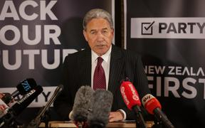 Winston Peters speaks to media after the SFO announcement on Tuesday.