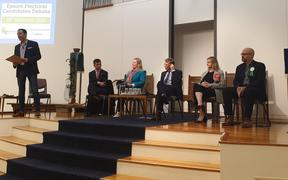 David Seymour, Faith-Joy Aaron, Paul Goldsmith, Camilla Belich and Kyle MacDonald at the Epsom electorate debate, moderated by Tim Watkin.