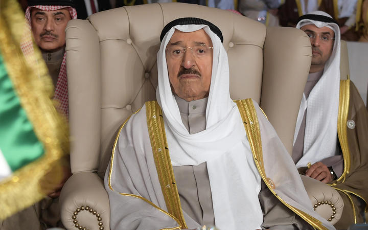 Kuwait's Emir Sheikh Sabah al-Ahmed al-Sabah attends the opening session of the 30th Arab League summit in the Tunisian capital Tunis, March 2019.