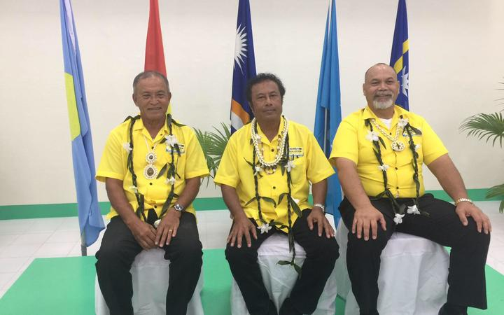 The Presidents of Marshall Islands, David Kabua (left), Palau, Tommy Remengesau (centre) and Nauru, Lionel Aingimea