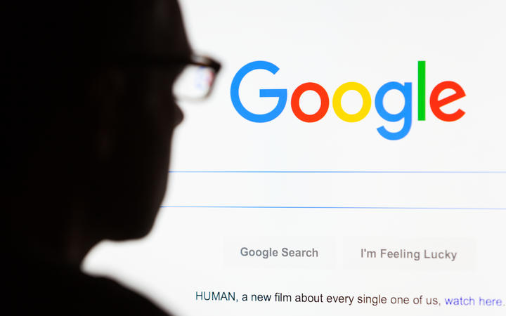 Close-up of the Google.com search homepage on computer.