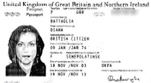 Passport of Diana Battaglia