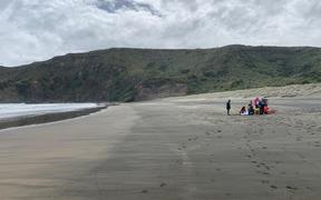 A group of swimmers got in trouble at Bethells Beach.