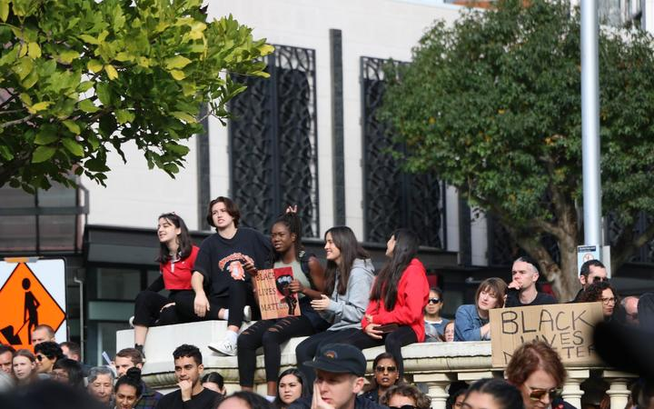 Protesters gathered in Aotea Square, Auckland with their signs for the Black Lives Matter rally on 14 June, 2020.