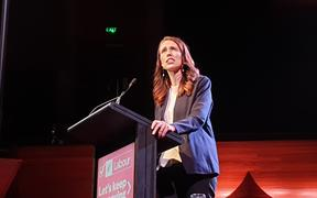 Jacinda Ardern at the Labour Party election rally at the Michael Fowler Centre in Wellington on 11 October 2020.
