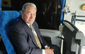 Winston Peters on board the New Zealand First campaign bus on Tuesday 13/10/2020.