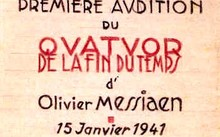 Poster for première of Messiaen's Quartet for the End of Time