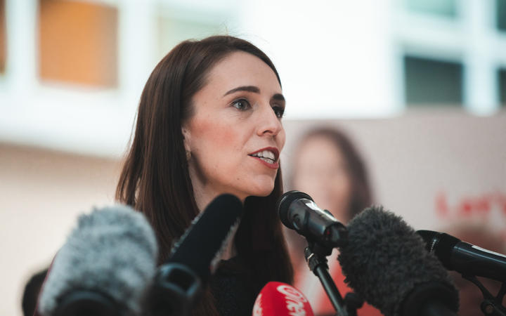 Jacinda Ardern. Labour members were in Lower Hutt today to visit Abstract Designs in Petone, do a walkabout in Queesngate Mall, and then went to a rally at in Wellington at Victoria University. 13 Oct 2020.