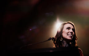 Labour leader Jacinda Ardern at the Auckland Town Hall on election night.