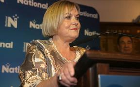 National leader Judith Collins giving her speech after being defeated at the 2020 election.