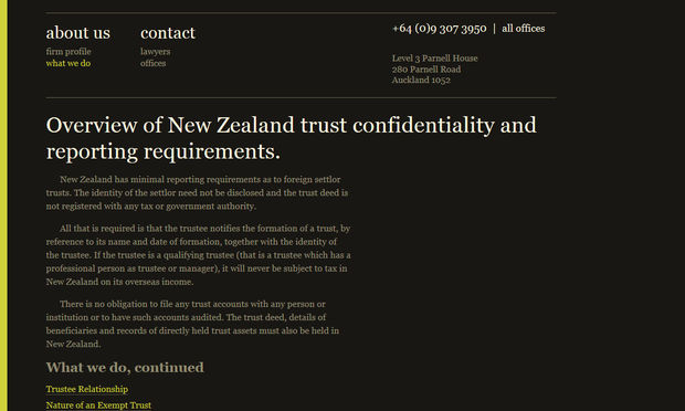 An archived version of one of the sections about foreign trusts on Cone Marshall's website.
