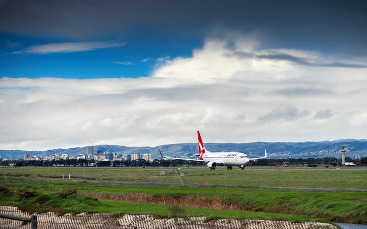 Qantas Boeing 747 ready to take off from the Adelaide Airport, South Australia.