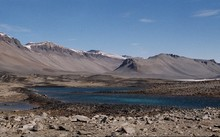 Lake Vanda - a panorama of the area being drowned by the rising lake