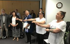 Spontaneous waiata in NRC council chambers in support of the council's decision on Māori constituencies. From left, Mike Kake, Violet Sade, Auriole Ruka, Aorangi Kawiti and Ana Kake.
