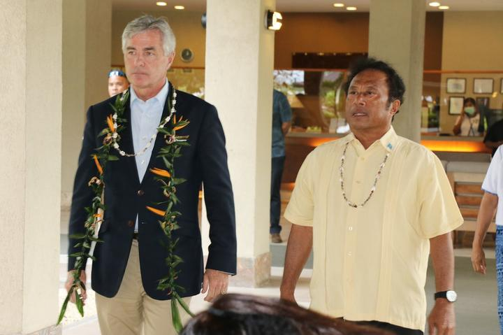 US Secretary of the Navy Kenneth Braithwaite and Palau President Tommy Remengesau Jr