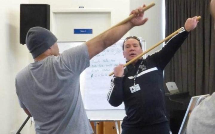 """Jade Morgan teaching his tikanga programme """"Te Hōkai Manea Tipuna"""""""
