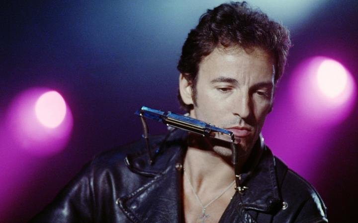 "American Bruce Springsteen performs in ""SOS racism""concert at Vincennes racetrack in Paris, on June 18, 1988."