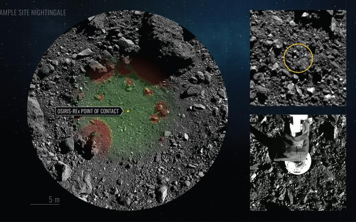 This NASA handout image obtained on October 21, 2020 shows Nightingale Hazard Map and TAG Location (L-top R) and NASA's robotic arm from spacecraft Osiris-Rex (bottom R) making contact with asteroid Bennu to collect samples. -