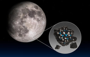This illustration highlights the Moon's Clavius Crater with an illustration depicting water trapped in the lunar soil there, along with an image of NASA's Stratospheric Observatory for Infrared Astronomy (SOFIA) that found sunlit lunar water.