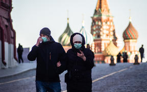 Illustration image of people wearing a medical mask in the city centre of Moscow during the pandemic of COVID-19 in Russia