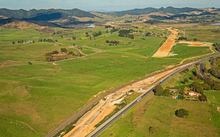 A photo posted by NZTA to Facebook in May 2016 shows the Huntly northern interchange, looking south.