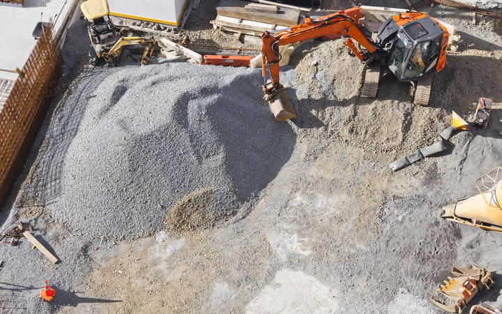 Gravel being used in foundations at a building site in Auckland.