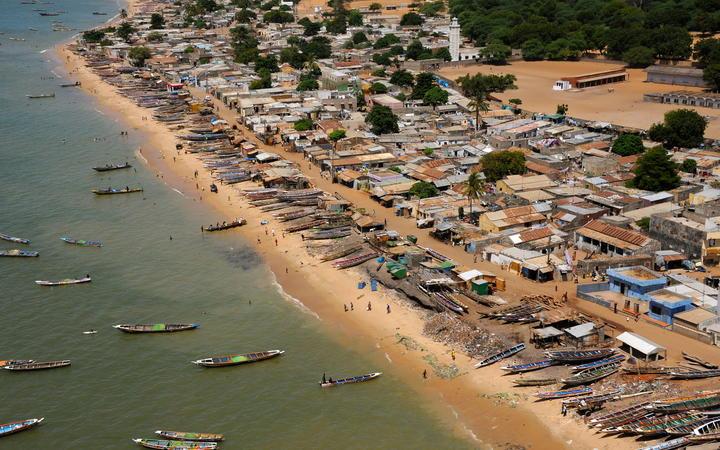 Boats off coast of Senegal.