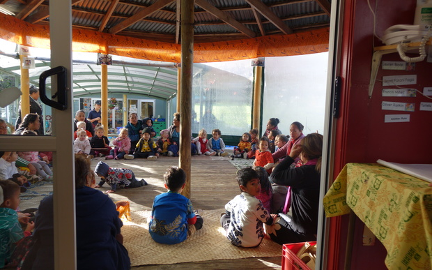 Children and teachers in the fale at the A'oga Fa'a Samoa in Grey Lynn.