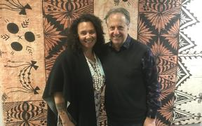Musician Ngaire Fuata and Sunday Morning host Jim Mora.