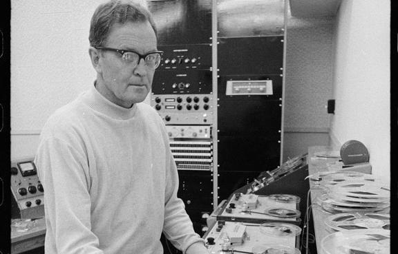 Composer Douglas Lilburn in the electronic music studio at Victoria University, Wellington, circa 30 August 1969.