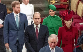 Prince Harry, Duke of Sussex and Meghan, Duchess of Sussex follow Prince William, Duke of Cambridge and Catherine, Duchess of Cambridge leaving as they depart Westminster Abbey after attending the annual Commonwealth Service in London on March 9, 2020.