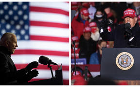 Presidential candidates; former VP Joe Biden for the Democrats, and the incumbent president Donald Trump for Republicans, at rallies on 2 November.