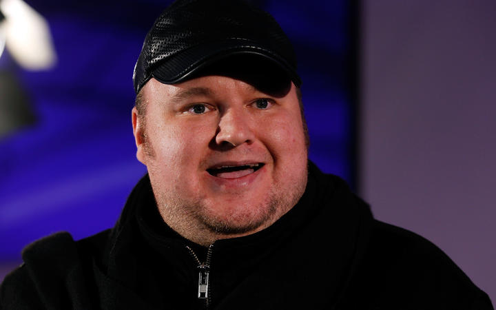 Kim Dotcom pictured in 2014 (speaking to Internet Party followers on September 20, 2014 in Auckland, New Zealand)