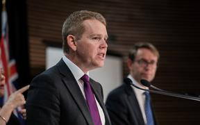Minister for Covid-19 Response Chris Hipkins and Director-General of Health Dr Ashley Bloomfield at the Covid media update on 3 November 2020.