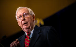 Senate Majority Leader Mitch McConnell gives election remarks in Louisville, Kentucky.
