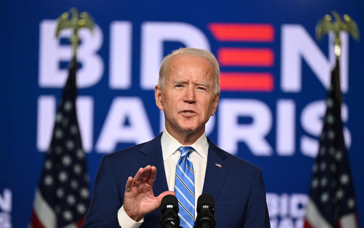 Democratic Presidential candidate Joe Biden speaks at the Chase Center in Wilmington, Delaware.