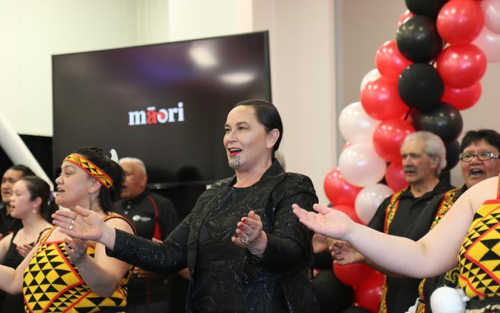 Māori Party co-leader Debbie Ngarewa Packer singing with the Pātea Māori Club.