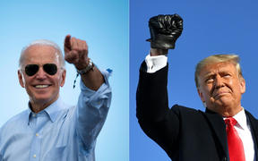 Democratic Presidential candidate Joe Biden prior to delivering remarks at a Drive-in event in Coconut Creek, Florida, and US President Donald Trump as he arrives to a campaign rally in Green Bay, Wisconsin.