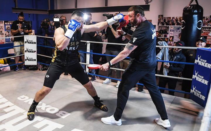 Heavyweight boxer Joseph Parker and his trainer Kevin Barry during a training and media session in Auckland ahead of his fight against Junior Fa on December 12. Thursday 5 November 2020 Andrew Cornaga / www.Photosport.nz