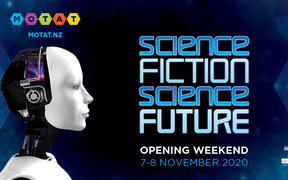 An image promoting the Science Fiction Future exhibit.