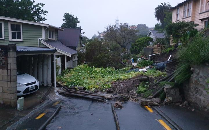 A large slip has affected houses on Brewster Street, Napier.
