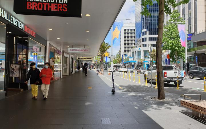 A quiet Queen Street in central Auckland on Friday 13/11/20.