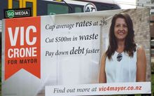 One of the billboards for Auckland mayoral candidate Vic Crone that has been taken down near Parnell.