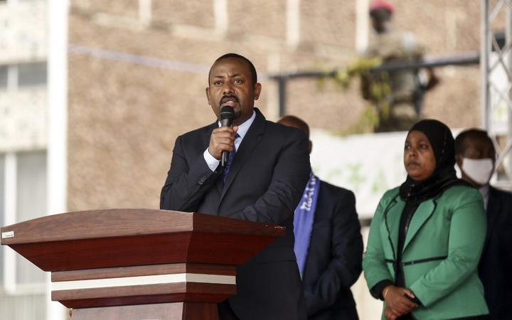 ADDIS ABABA, ETHIOPIA - SEPTEMBER 30: Prime Minister of Ethiopia, Abiy Ahmed speaks at the parade of Ethiopian Federal Police