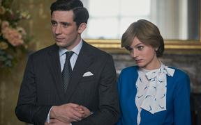 Emma Corrin as Princess Diana and Josh O'Connor as Prince Charles in Season 4 of The Crown
