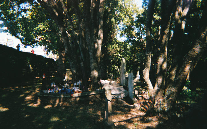 A camp made by people who are homeless in the Symonds Street Cemetery, where one of Brodie Fraser's research participants had rough slept as a teen.